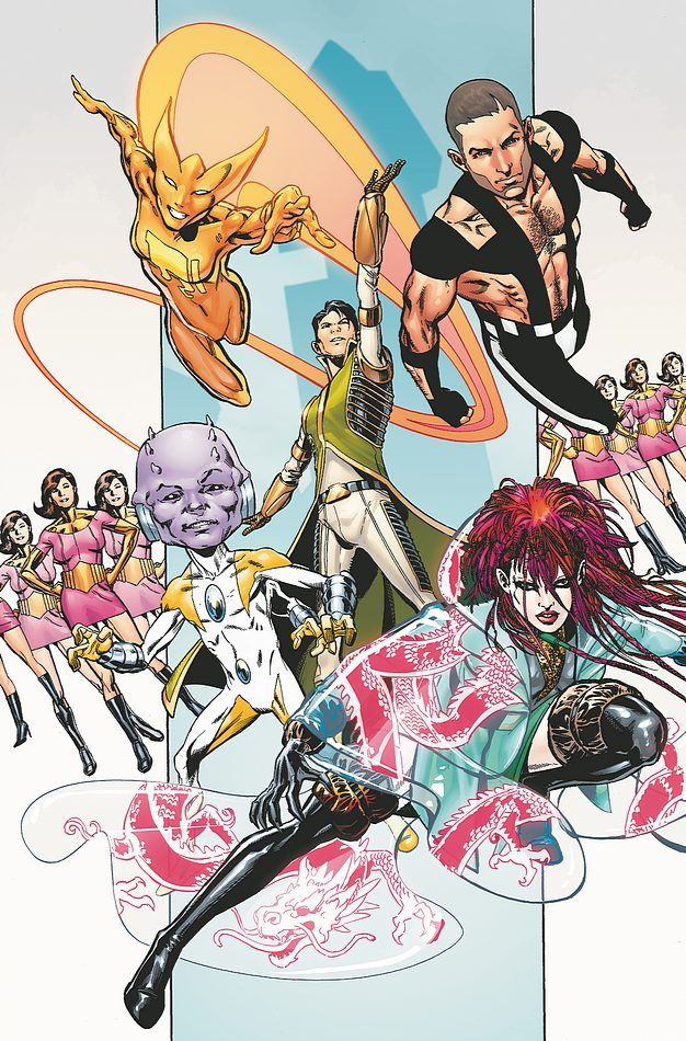 Comet Queen, Gravity Kid, Chemical King, Variable Lad, Dragonwing. Cover of Adventure Comics #524 (2011). Art by Phil Jimenez.