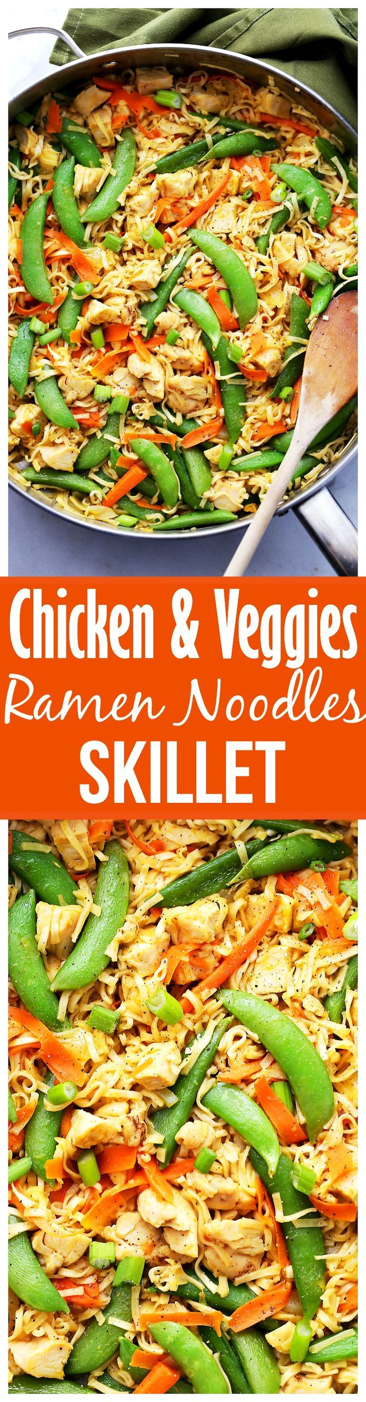 Chicken and Veggies Ramen Noodles Skillet – Delicious ramen noodles tossed with leftover chicken, carrots and snap peas make for an easy and super quick weeknight meal.