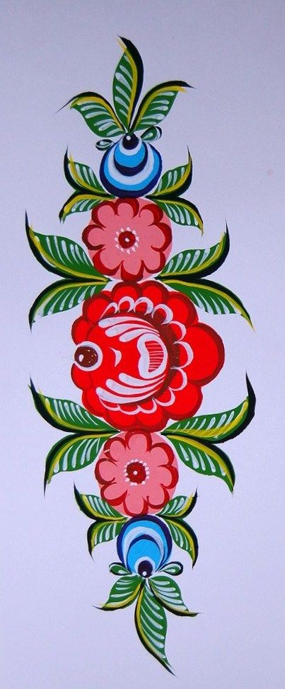 Folk Gorodets painting from Russia. A floral pattern.