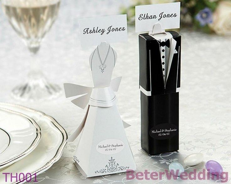 48pcs=24set gunst dozen en bruid en bruidegom plaats kaarthouders th001 met blanco kaarten BETER-TH001 de doos van het huwelijkssuikergoed http://www.aliexpress.com/store/512567