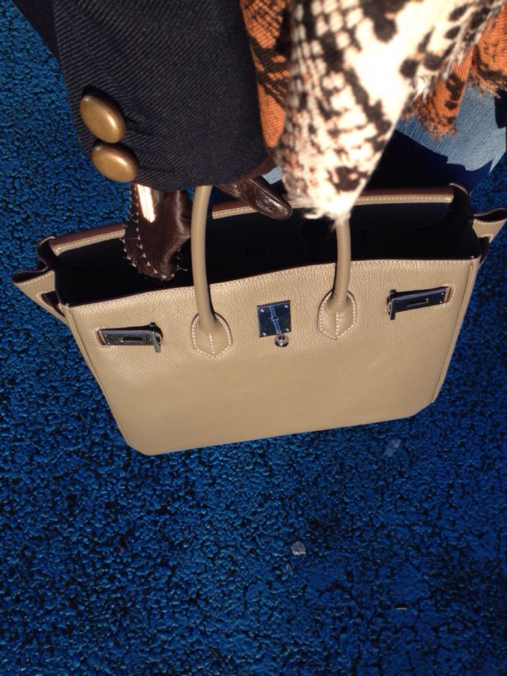 Taupe large leather bag