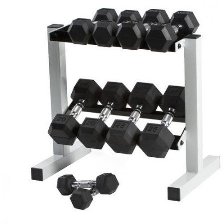 "CAP 150 lb Rubber Hex Dumbbell Weight Set, 5-25 lb with Rack. Set includes: a 5 lb dumbbell pair, a 10 lb dumbbell pair, a 15 lb dumbbell pair, a 20 lb dumbbell pair, a 25 lb dumbbell pair, and a 20"", 2-tier, dumbbell rack for easy storage (note: not all dumbbells fit on rack). Rubber Coating helps protect floors and equipment. Hexagonal shape prevents rolling and allows easy storage. Great for both upper body and lower body workouts. 30-day limited warranty."