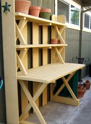 Stacking the benches to and old picnic table to create shelves for a planting table.  Note: use angle bracket to secure the benches to the table and that 4x4 were used on the feet of the table to raise it up a few inches.