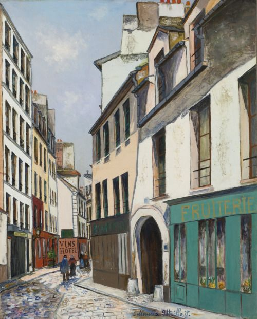 Rue Broca, Paris (c.1922 ) by Maurice Utrillo (1883-1955), French, oil on canvas (birdsong217)