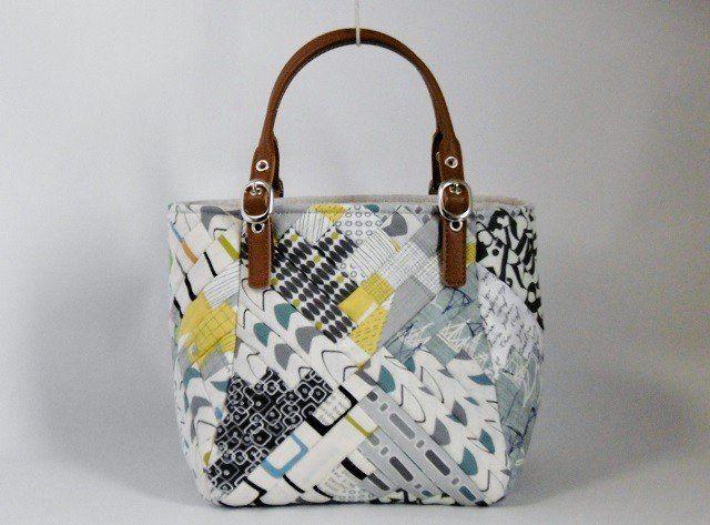 ストリングキルトのログキャビンバッグ Iichi ハンドメイド クラフト作品 手仕事品の通販 ストリングキルト バッグ パッチワーク バッグ
