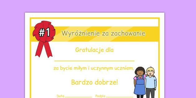 * NEW * Kindness Award Certificate Polish