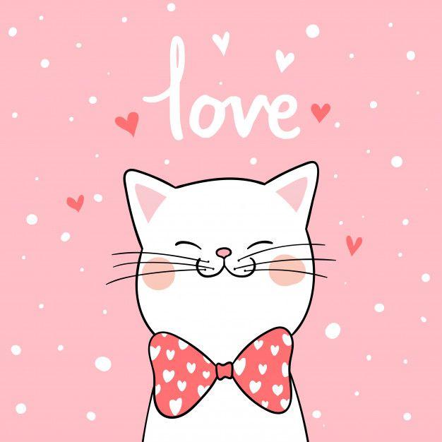 Zeichnen Sie weiße Katze mit rosa Hintergrund für Valentinsgruß erstklassigen Vektor – Basteln
