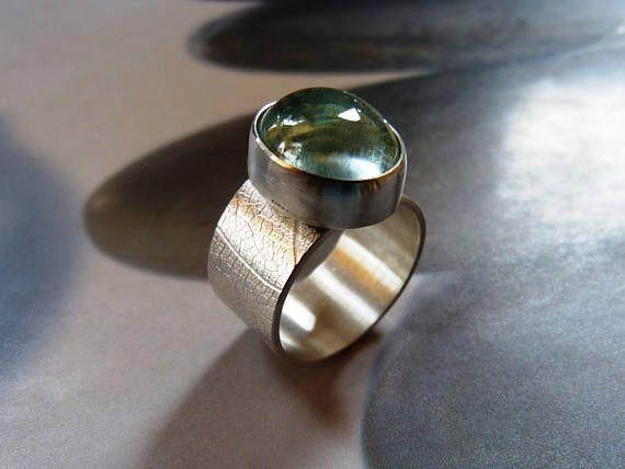 Aquamarine ring handcrafted birthday gift blue gem ring