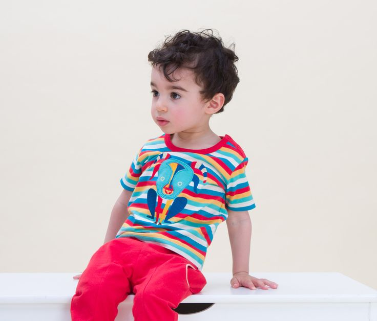 Billy the Goat Tee in Spring Rainbow Stripe and Roly Poly Red Joggers