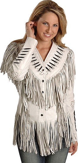 Bone Piping Lamb Leather Fringe Jacket....this would be gorgeous in a pretty shade of brown, or a denim blue/gray..