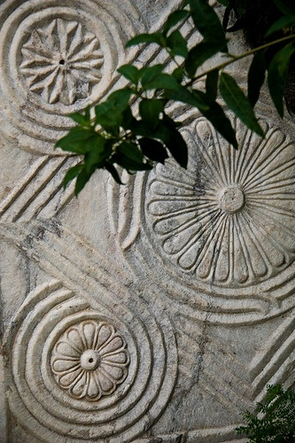 Relief carving on a fragment in garden of Castle of Knights of St John, Bodrum, Turkey