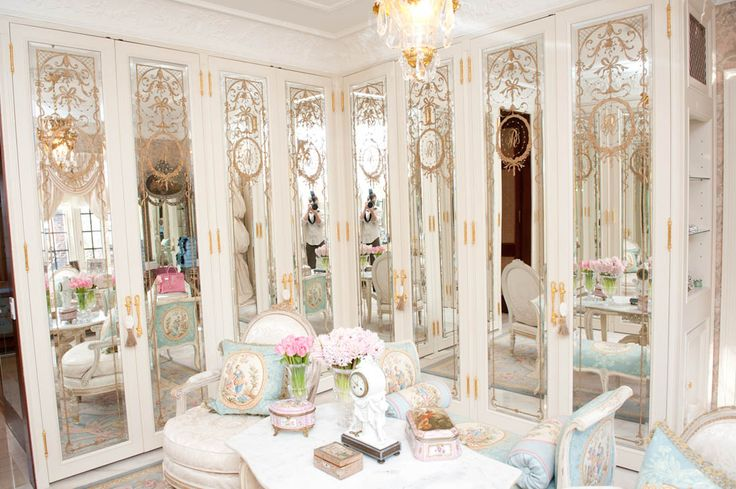 Suzanne Rogers' closet. #french #decor #gilded #mirror