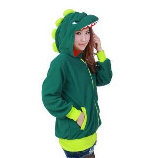Fleece dinosaur zip hoodie green cosplay costume for girls