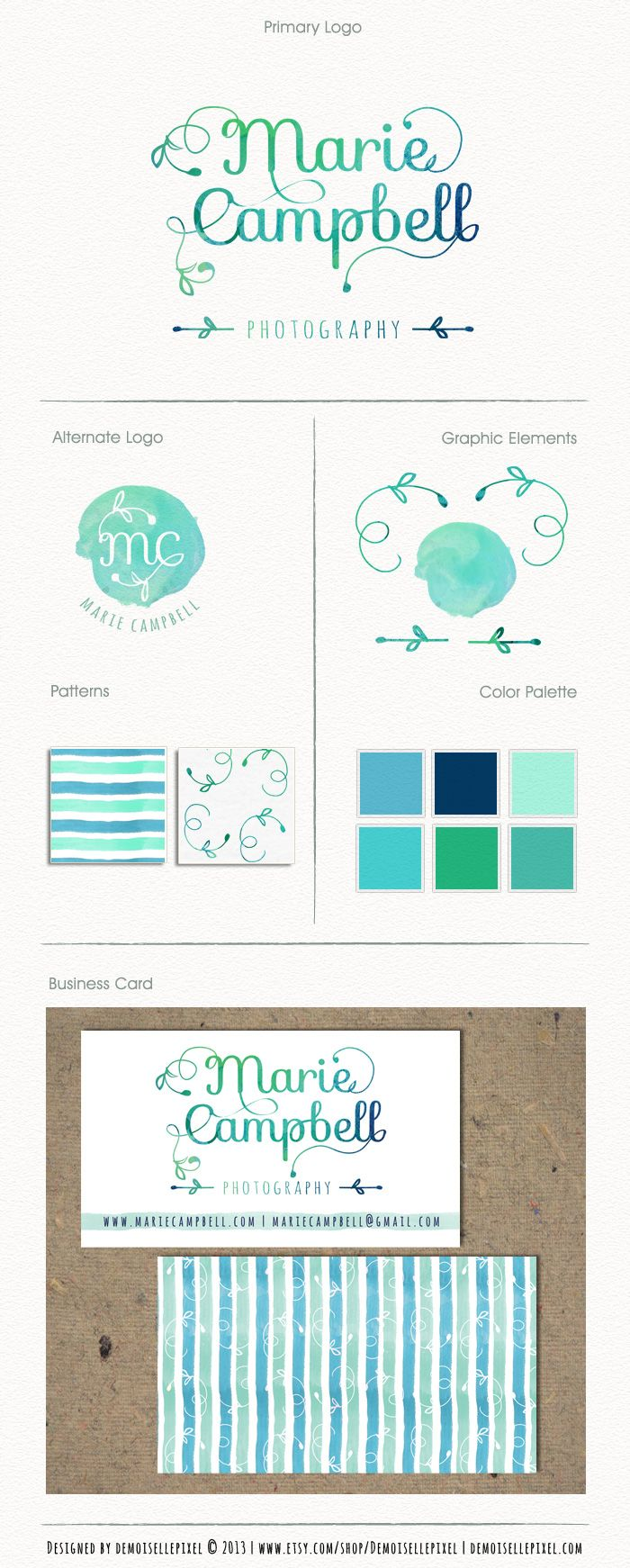 Branding Package, pretty watercolor typography at $99.90 : https://www.etsy.com/listing/161632494/business-identity-package-hand-drawn