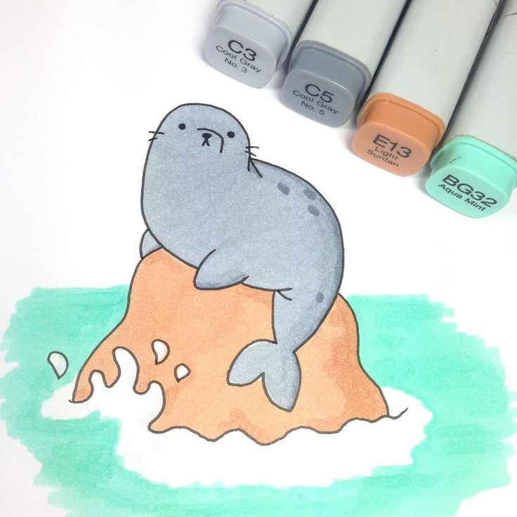 "⭐️KiraKiraDoodles on Instagram: ""Here is a kawaii seal for you from the We Bare Bears episode Bear Cleanse  and because I saw some cute seals yesterday  #kawaii #cute…"""