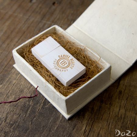 Handmade loktah box with vintage wooden flash drives. Personalization available.