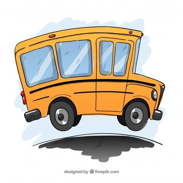 Classic School Bus With Hand Drawn Style Free Vector In 2020