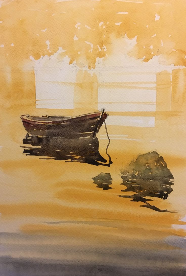 Boat. Watercolor.