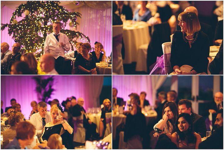 Heaton House Farm Wedding Venue, Cheshire, The Crawleys Photography, cgweddings, wedding speeches, time to dine, Christmas wedding, purple lighting