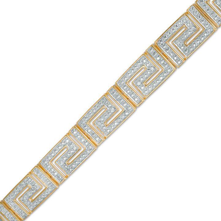 """Zales 1/10 CT. T.W. Diamond Greek Key Bracelet in Sterling Silver and 18K Gold Plate - 7.25"""""""