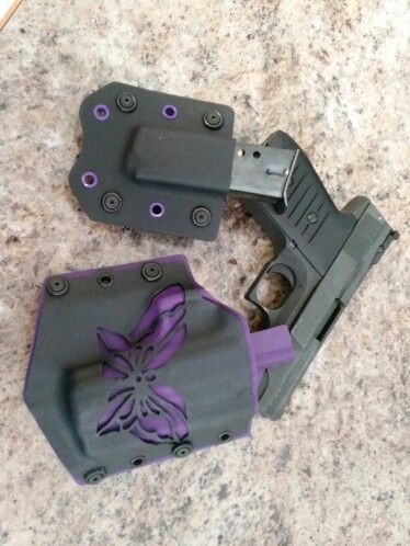Purple butterfly custom kydex holster made by quicklock holsters