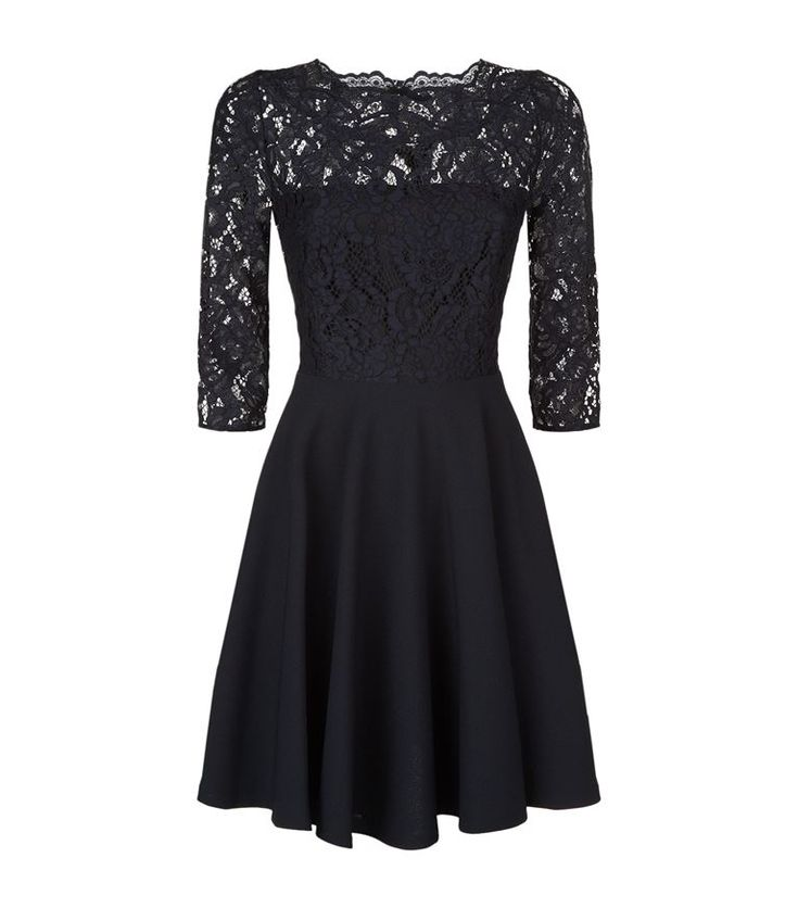 Women: Long Sleeved Dresses Claudie Pierlot Lace Insert A-Line Dress