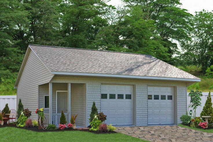 single unattached garage with porch | E90-04 24x36 Prefab Saltbox Garage with Porch Vinyl: Cedar ...