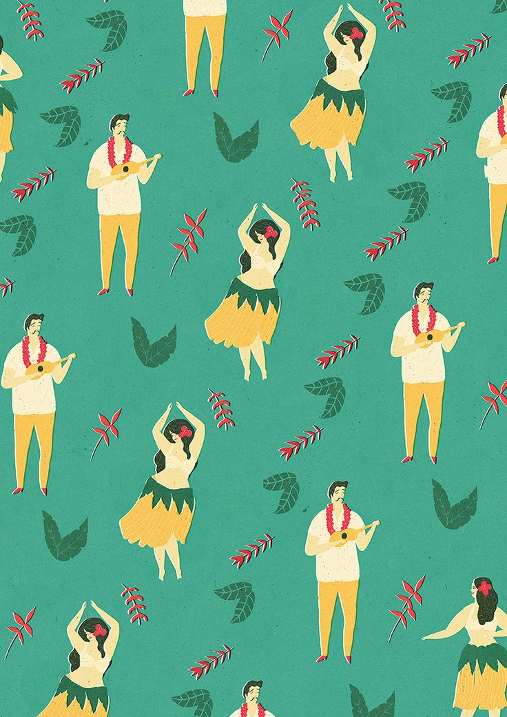hula dancer, ukulele player - repeat pattern by naomi wilkinson