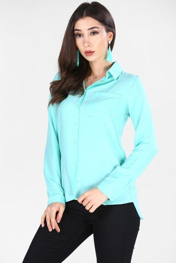 قميص أخضر فاتح موحد اللون نسائي Fashion Athletic Jacket Tops