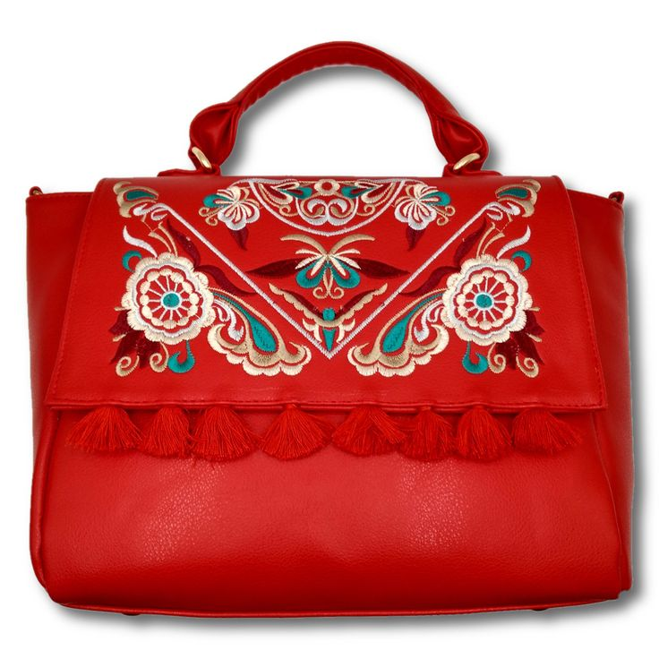 Bolsa tipo Satchel, fabricada en piel de vaca, bordada y borlas. #Bolsa #piel #tipo #Satchel #color #rojo #bordada #borlas #finelookingstore   Leather Hand Bag, Satchel form, Embroidered with Tassels #Leather #Hand #Bag #Satchel #form #Embroidered #Tassels #Red #color #Finelookingstore