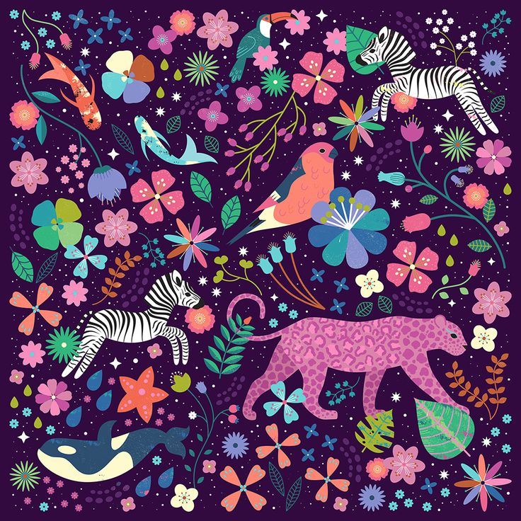 Carly Watts Illustration: Wild #zebra #leopard #orca #whale #toucan #koi #pattern #illustration #design