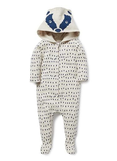 100% Cotton French Terry jumpsuit featuring all over yardage print and novelty animal hood. Features zip up centre front.