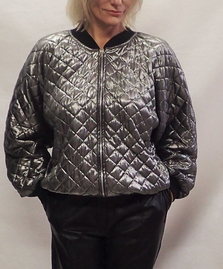 80s Womens Vintage Quilted Shiny Light Zip Up Sports Suit Jacket - Metallic Zip Up Outerwear - Athletic - JOANNA - Large - Made in USA by DOINGITSOBER on Etsy