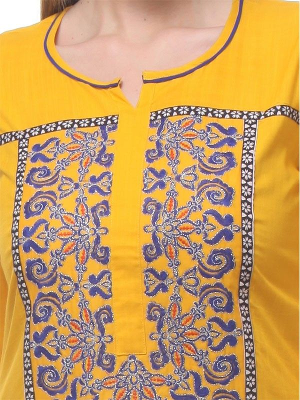 Yellow Kurta With Round Neck,three Quarter Sleeves,embroidery Detail On The Front Yoke With Printed Pannels And Side Slit.\r\n