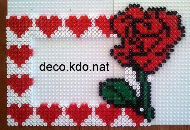 DECO.KDO.NAT: Perles hama: cadre photo coeur/rose