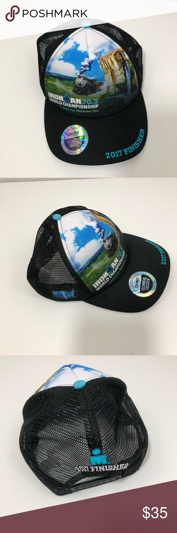Iron Man World Championship Hat 2017 Chattanooga Technical trucker hat by BOCO Gear Ironman 70.3 World Championship Chattanooga Choo-Choo image Sept 9-10, 2017 date on the side 2017 Finisher Ironman Accessories Hats
