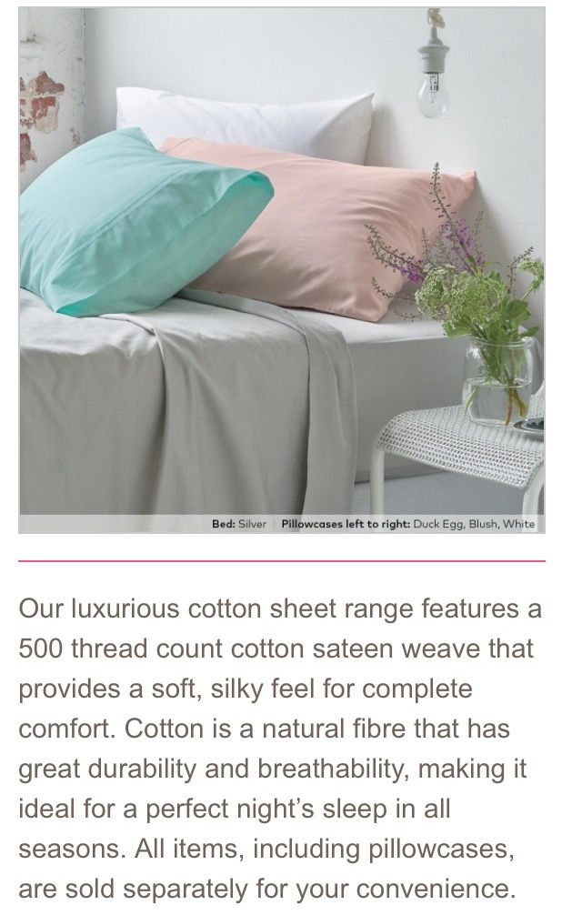 Our gorgeous new Luxury 500 TC Cotton Sheets, sold separately and available now!