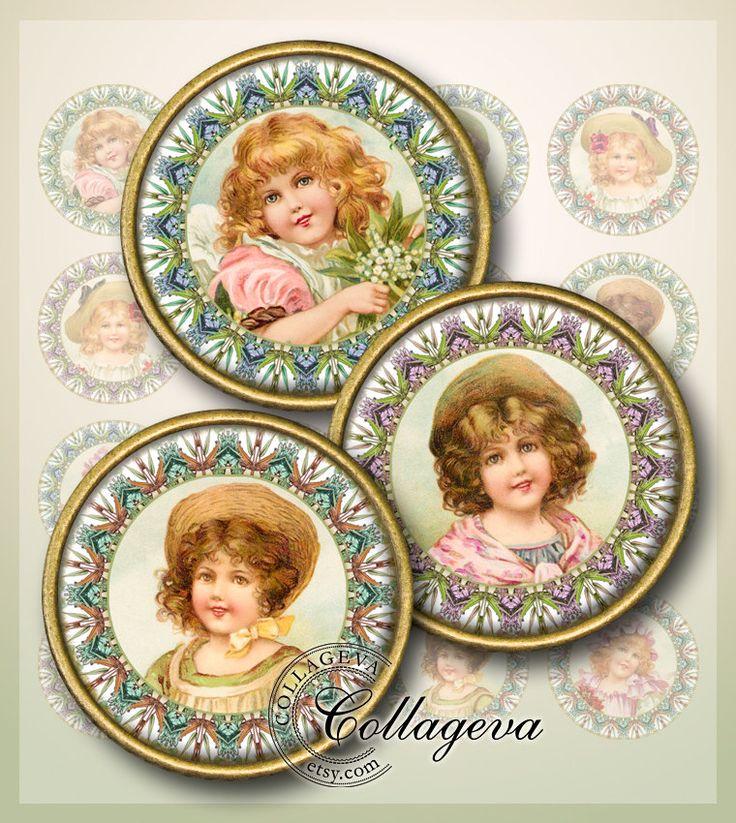 "Vintage Girls Digital Collage Sheet 1.5"" 1.25"" 30 mm 25 mm 1 inch circles, Victorian images for pendant Children Ephemera, DOWNLOAD (EA01-c) by collageva on Etsy"