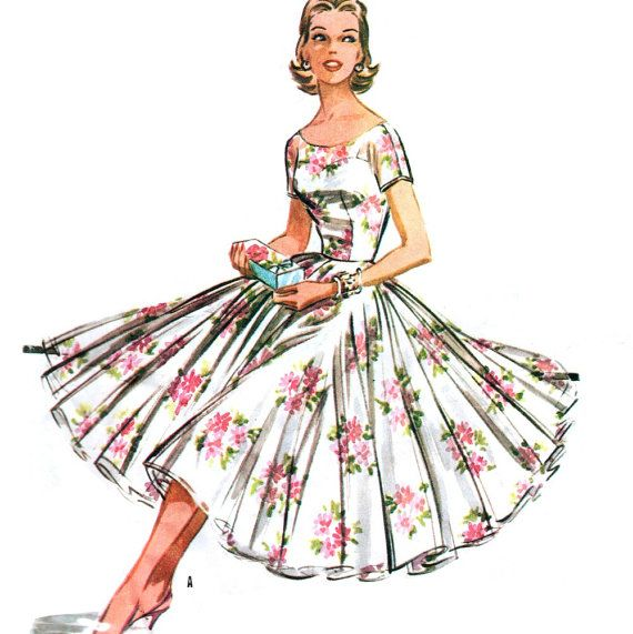 Sweetheart camisole bodice with full circle skirt and sheer overdress. McCall's 3649, from 1956.