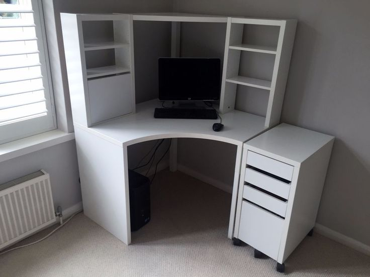 IKEA MICKE Corner workstation in white with matching filing cabinet