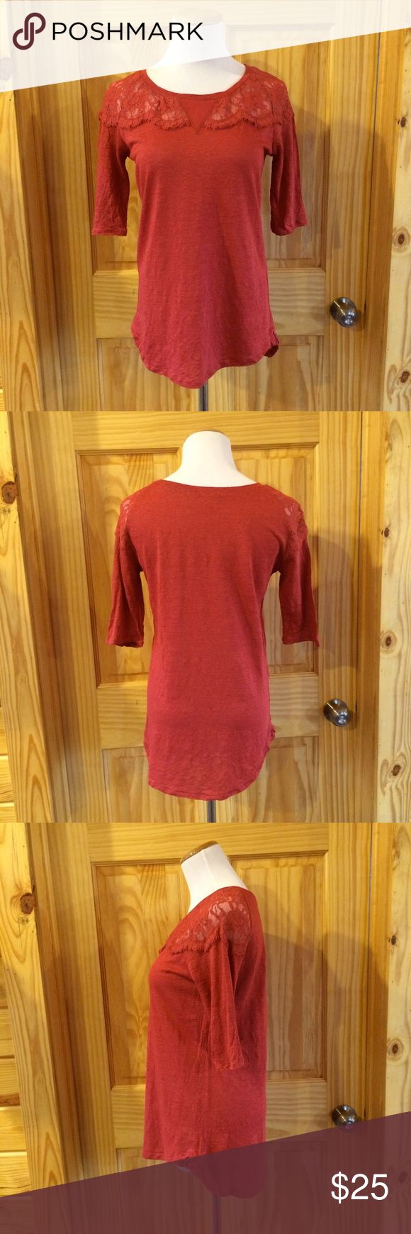 """Anthropologie bordeaux Coral Red Linen Lace Top Has slight burnout effect on cloth. Lace around collar, unlined beneath. In excellent condition. Bust: 35"""" Waist: 34"""" Shoulder to Hem: 26"""" *F12 Anthropologie Tops Tees - Short Sleeve"""