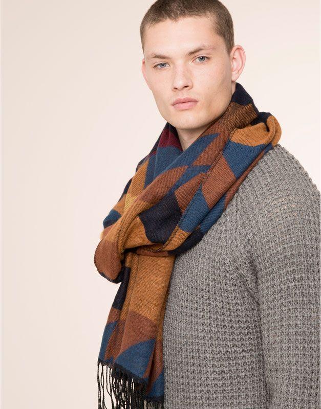 Pull&Bear - dla niego - szaliki i rękawiczki - wzorzysty szalik - morski - 09843519-I2015