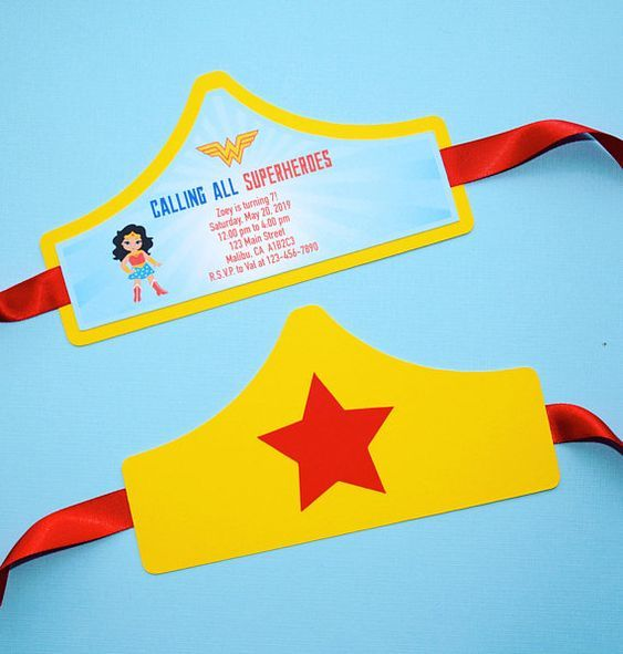 Wonder Woman Tiara Invitations Wonder Woman Party Wonder