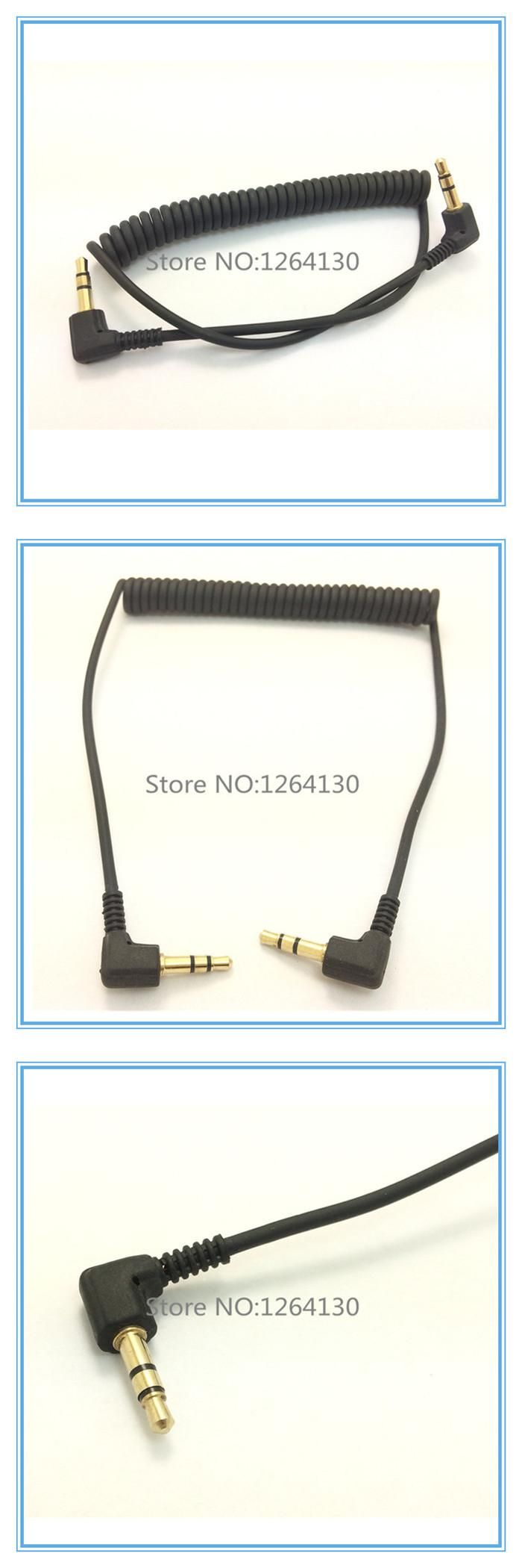 [Visit to Buy] Spring Audio Cable Stereo 3.5mm Double bend 90 degree Male Audio Line Mp3 Mobile Phone to Car Aux Speaker Audio Wire #Advertisement