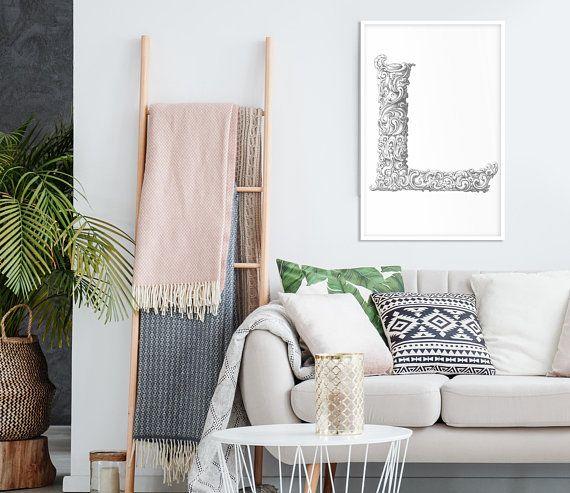 Cozy Homeoffice Decor: Letter L Print, Letter L Art, Letter Wall Art, Letter Wall