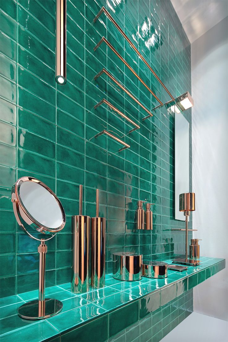 Copper with aqua for a green kitchen