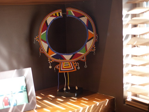 Masai beads on stand.  (Brad Goreski and Gary Janetti's LA home)