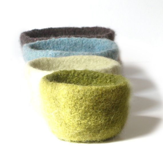 WOOLY FELTED BOWLS - four felted nesting bowls - olive green, natural, spun sapphire blue, charcoal grey