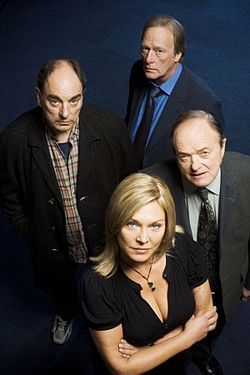 "New Tricks~ British TV series made up of retired police officers who have been recruited to reinvestigate unsolved crimes. The series title is taken from the popular expression ""You can't teach an old dog new tricks""."