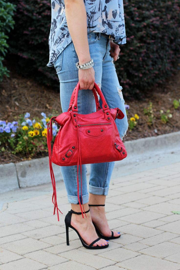 Stuart Weitzman Nudist Sandals + Red Balenciaga Town - Palm & Peachtree